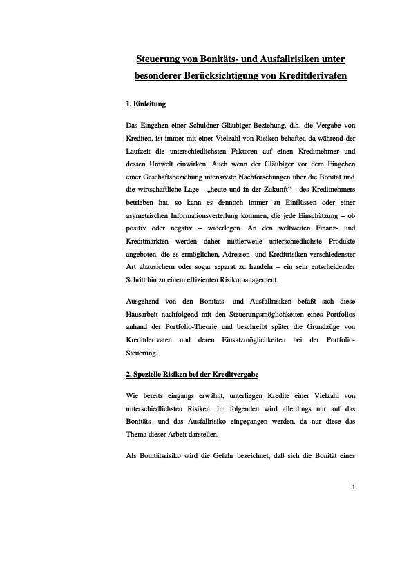 Titel: Steuerung von Bonitäts- und Ausfallrisiken unter besonderer Berücksichtigung von Kreditderivaten