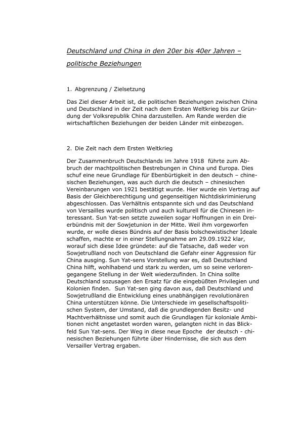 Titel: Deutschland und China in den 20er bis 40er Jahren - politische Beziehungen