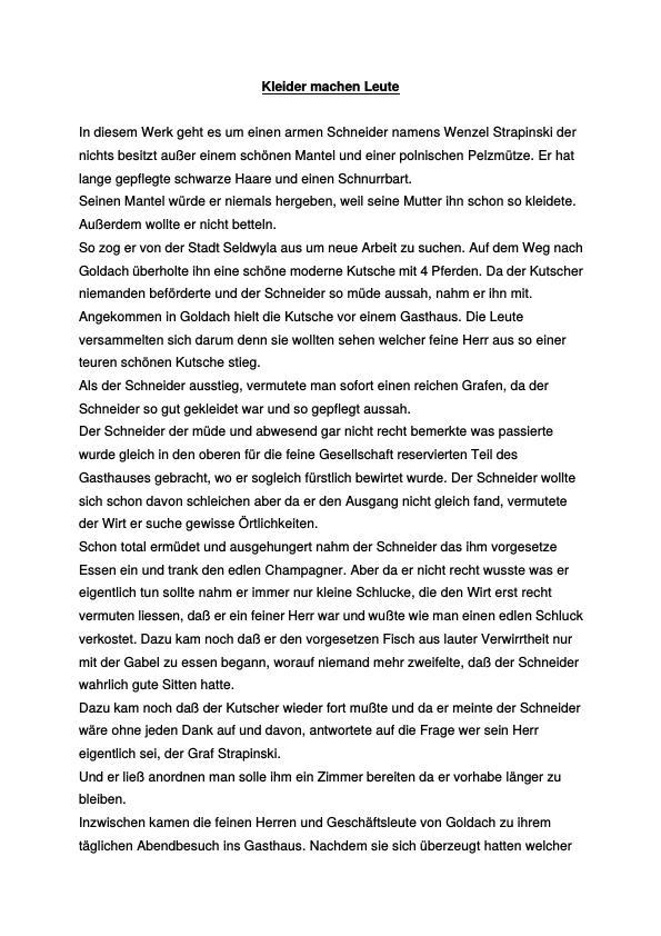 Titel: Keller, Gottfried - Kleider machen Leute