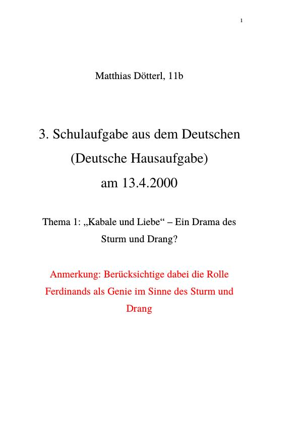 """Titel: Kabale und Liebe: Ferdinand, ein """"Genie"""" im Sinne des Sturm und Drang"""