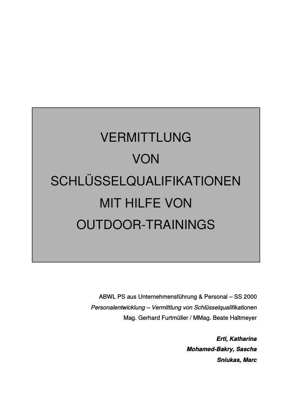 Titel: Vermittlung von Schlüsselqualifikationen mit Hilfe von Outdoor-Trainings