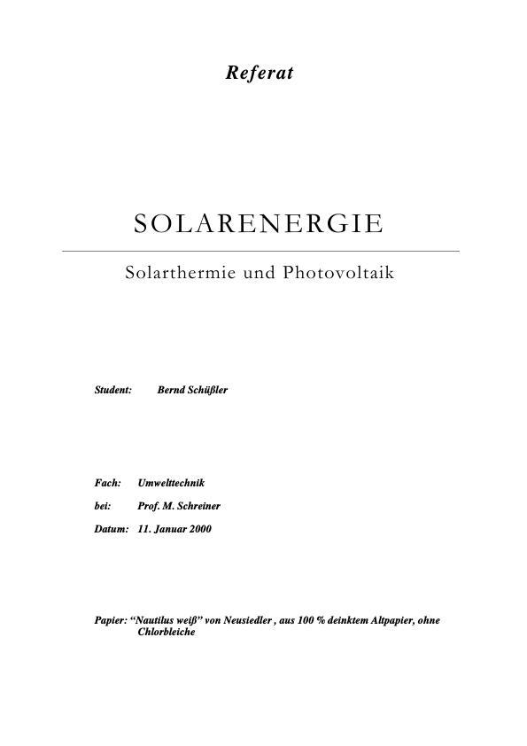 Solarenergie Solarthermie Und Photovoltaik Masterarbeit