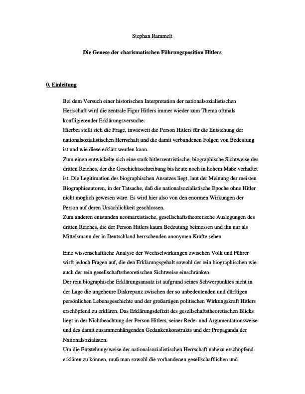 Titel: Die Genese der charismatischen Führungsposition Hitlers