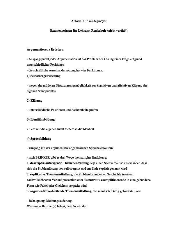 Titel: Examenswissen für Lehramt Realschule (nicht vertieft)