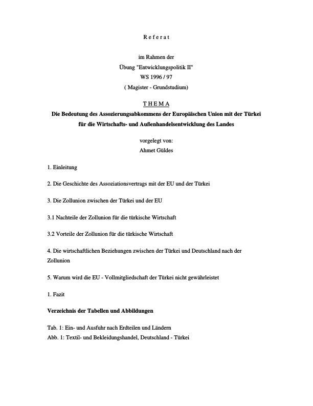Titel: Die Bedeutung des Assozierungsabkommens der Europäischen Union mit der Türkei für die Wirtschafts- und Außenhandelsentwicklung des Landes