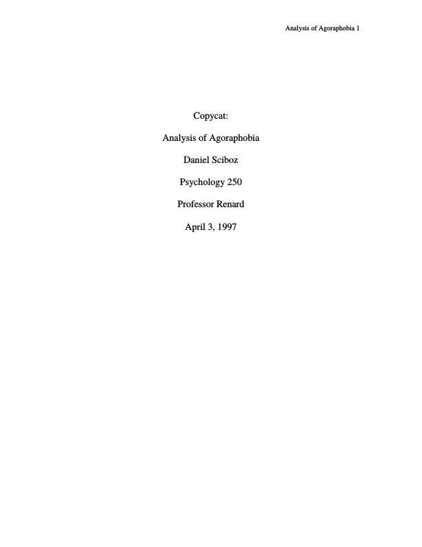 Title: Abnormal Psychology - Agoraphobia