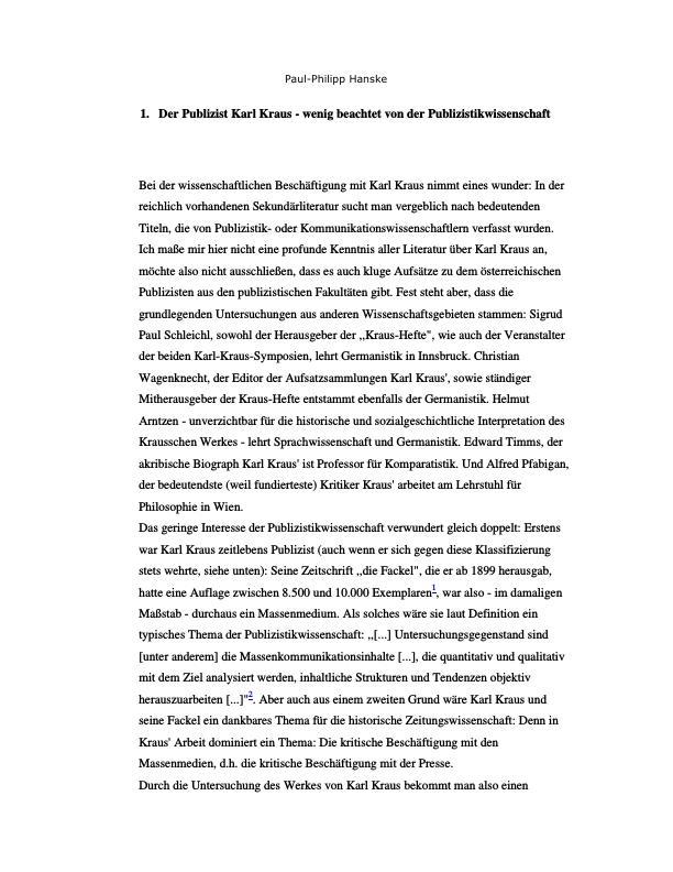Titel: Pressekritik durch Karl Kraus vor und im ersten Weltkrieg