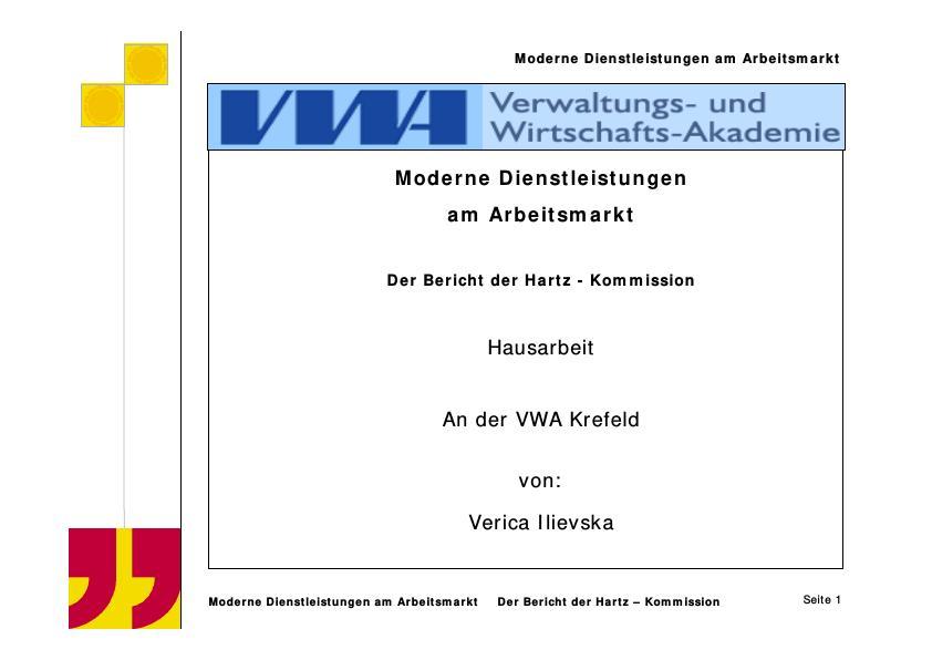 Titel: Das Hartz-Konzept und seine Umsetzung in der neuen Arbeitsmarktreform