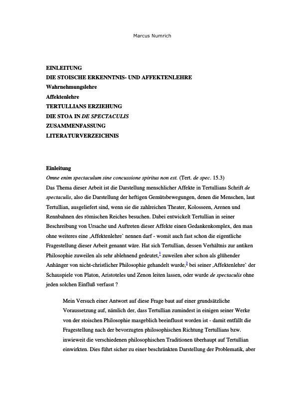 Titel: Affekte in Tertullians `De Spectaculis`