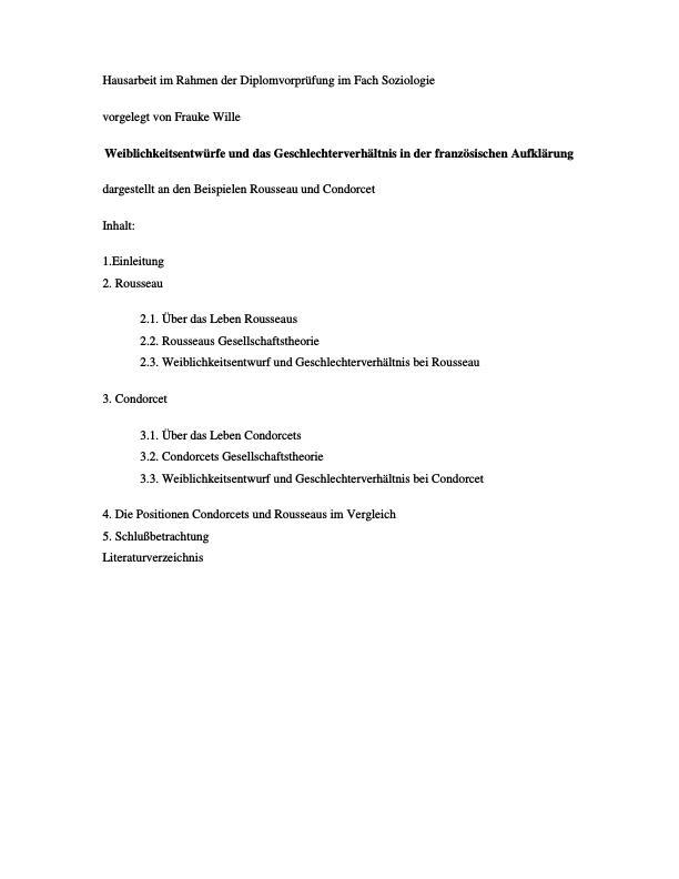 Titel: Weiblichkeitsentwürfe und das Geschlechterverhältnis in der französischen Aufklärung