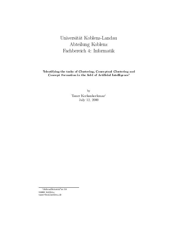 Title: Identifying the tasks of Clustering, Conceptual Clustering and Concept Formation in the field of Artificial Intelligence