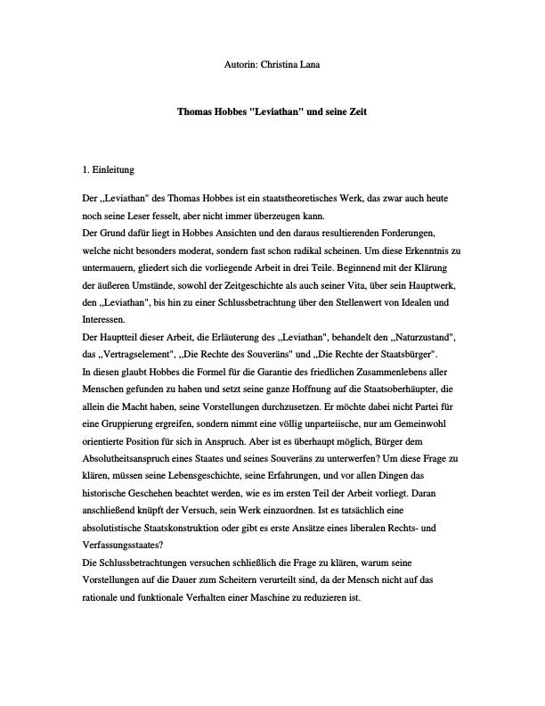 """Titel: Thomas Hobbes """"Leviathan"""" und seine Zeit"""
