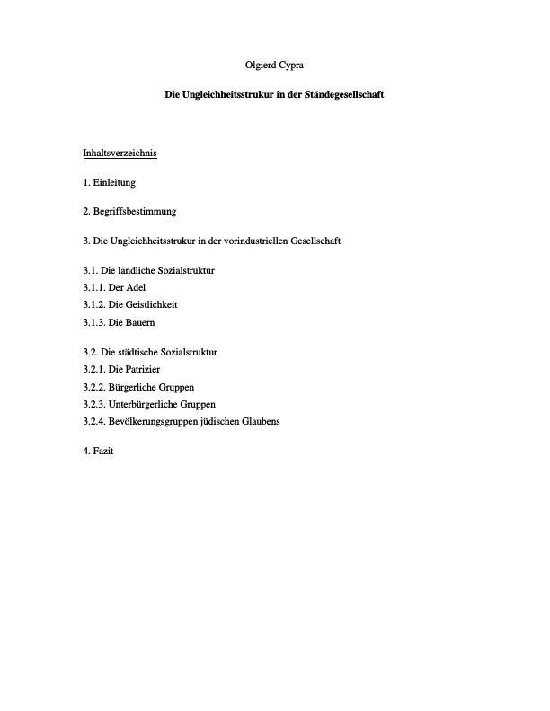 Titel: Die Ungleichheitsstrukur in der Ständegesellschaft