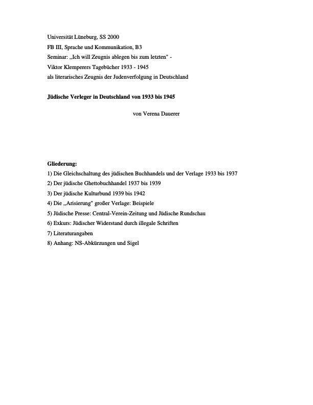 Titel: Jüdische Verleger in Deutschland von 1933 bis 1994