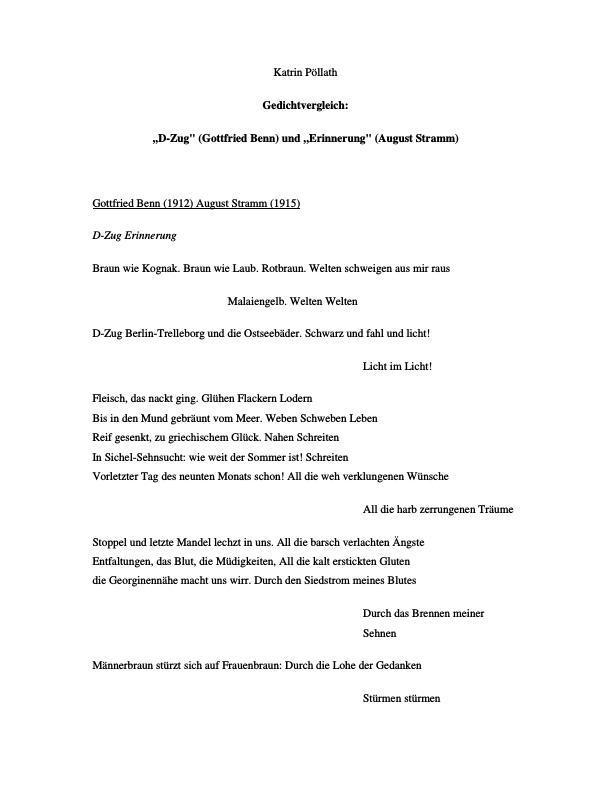 Titel: Benn, Gottfried - D-Zug und August Stramm - Erinnerung - Gedichtvergleich  #