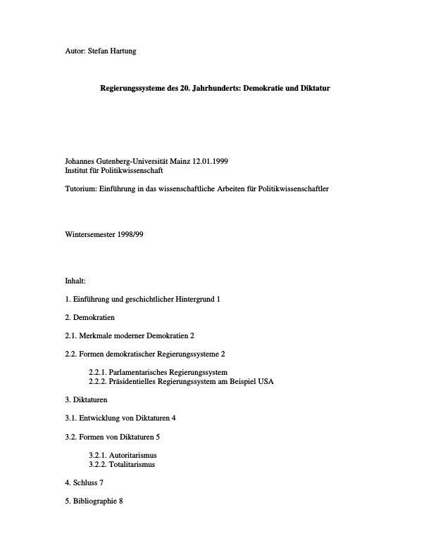 Titel: Regierungssysteme: Demokratie und Diktatur