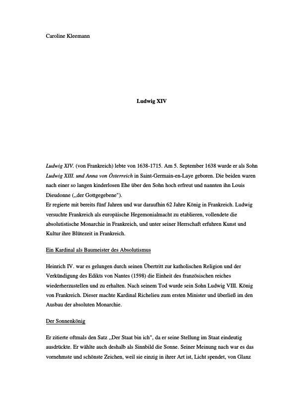 Titel: Hof, Staat und Politik unter Ludwig XIV