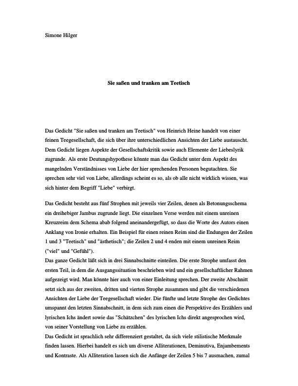 Titel: Heine, Heinrich - Sie saßen und tranken am Teetisch