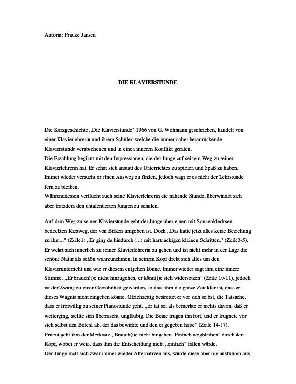 Wohmann G Die Klavierstunde Masterarbeit Hausarbeit