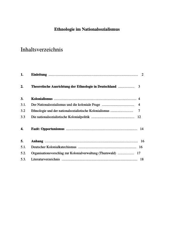 Titel: Ethnologie im Nationalsozialismus