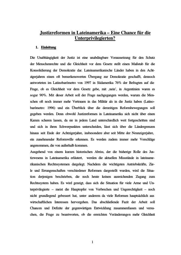 Titel: Justizreformen in Lateinamerika - Eine Chance für die Unterprivilegierten?