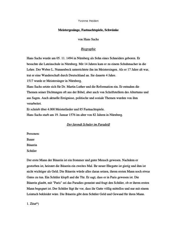 Titel: Meistergesänge, Fastnachtspiele, Schwänke von Hans Sachs