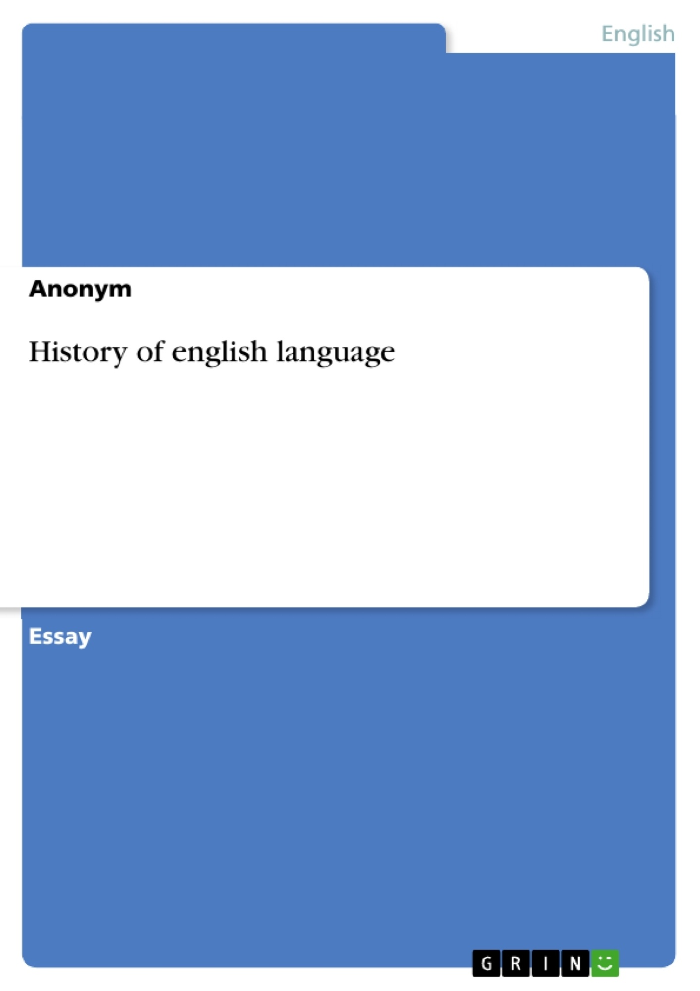 Title: History of english language