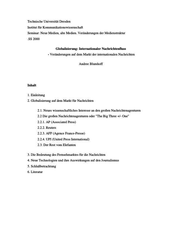 Titel: Globalisierung - Internationaler Nachrichtenfluss - Veränderungen auf dem Markt der internationalen Nachrichten