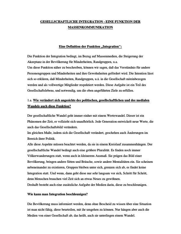 Titel: Gesellschaftliche Integration - eine Funktion der Massenkommunikation