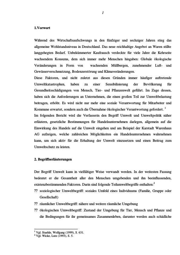Titel: Umweltschutz im Einzelhandel am Beispiel der Karstadt Warenhaus AG