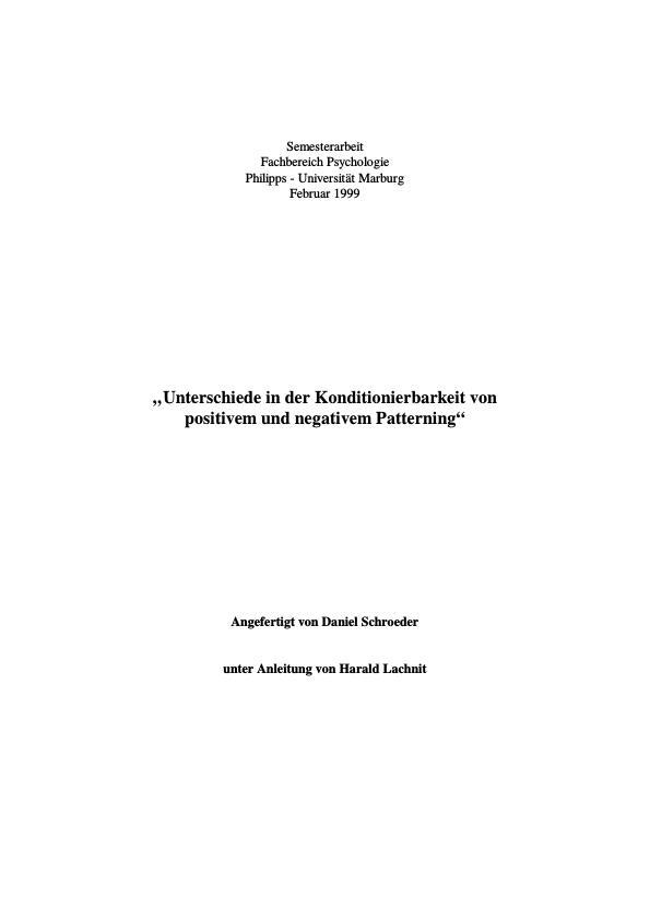 Titel: Unterschiede in der Konditionierbarkeit von positivem und negativem Patterning