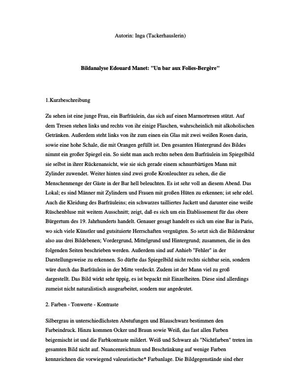"Titel: Bildanalyse Edouard Manet ""Un bar aux Folies-Bergère"""