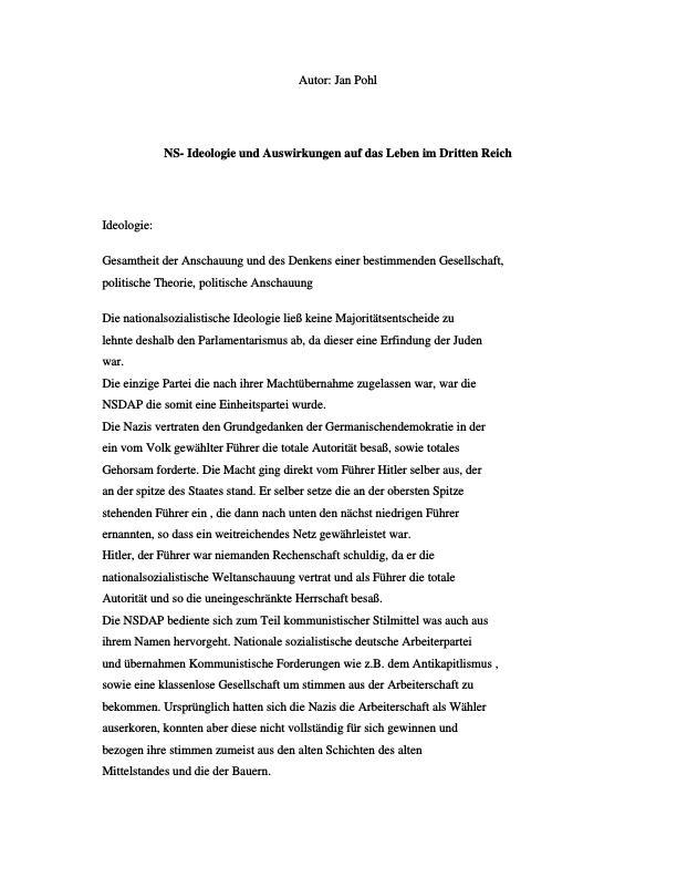 Titel: NS-Ideologie und Auswirkungen auf das Leben im Dritten Reich