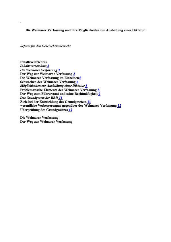 Titel: Die Weimarer Verfassung und ihre Möglichkeiten zur Ausbildung einer Diktatur