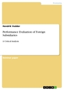 Titel: Performance Evaluation of Foreign Subsidiaries