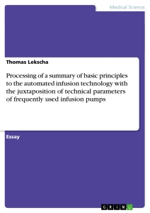 Title: Processing of a summary of basic principles to the automated infusion technology with the juxtaposition of technical parameters of frequently used infusion pumps