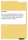 Title: The role of upward feedback in effective Federal public administration in Germany - as part of the new public management and modernisation strategy