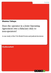 Titel: Does the operator in a Joint Operating Agreement owe a fiduciary duty to non-operators?