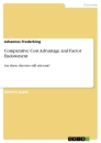 Titel: Comparative Cost Advantage and Factor Endowment