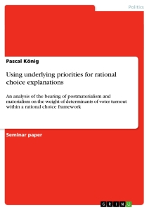 Titel: Using underlying priorities for rational choice explanations