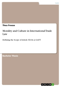 Titel: Morality and Culture in International Trade Law