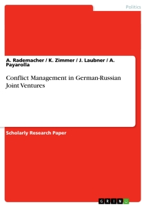 Titel: Conflict Management in German-Russian Joint Ventures