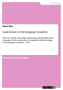 Title: Land tenure in Developing Countries