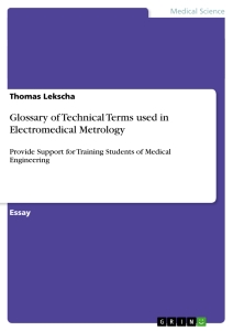 Titel: Glossary of Technical Terms used in Electromedical Metrology