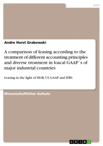 Titel: A comparison of leasing according to the treatment of different accounting principles and diverse treatment in loacal GAAP´s of major industrial countries