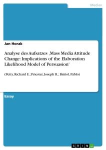 Title: Analyse des Aufsatzes 'Mass Media Attitude Change: Implications of the Elaboration Likelihood Model of Persuasion'