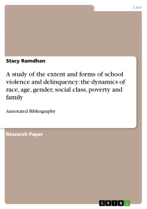 Title: A study of the extent and forms of school violence and delinquency: the dynamics of race, age, gender, social class, poverty and family