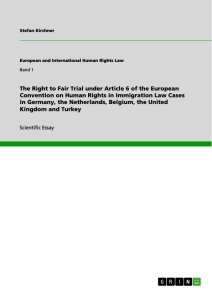 Title: The Right to Fair Trial under Article 6 of the European Convention on Human Rights in Immigration Law Cases in Germany, the Netherlands, Belgium, the United Kingdom and Turkey