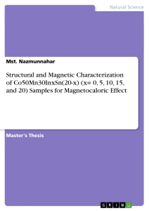 Title: Structural and Magnetic Characterization of Co50Mn30InxSn(20-x) (x= 0, 5, 10, 15, and 20) Samples for Magnetocaloric Effect