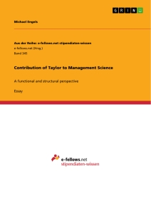 Titel: Contribution of Taylor to Management Science